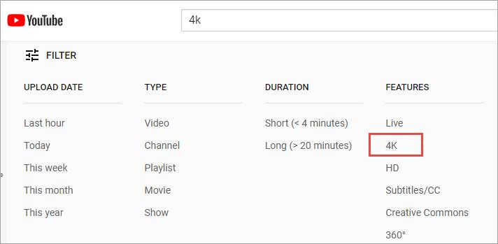 寻找油管4k分辨率视频