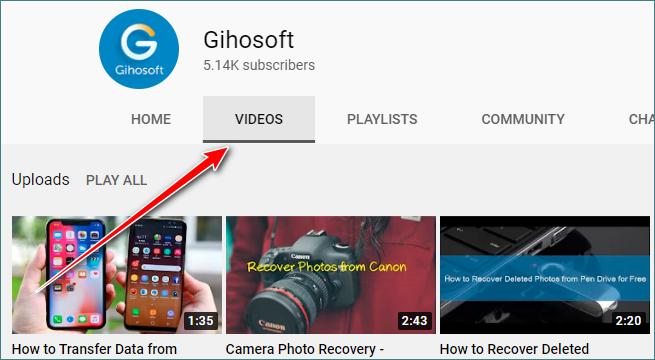 选择频道videos